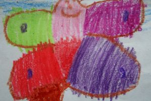 childs drawing of  butterfly