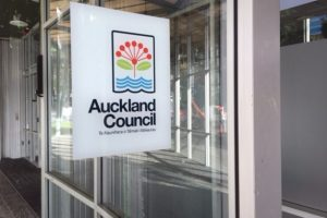 Auckland Council logo on door